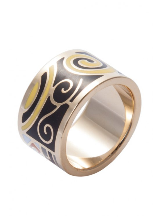 fashion Printed Wide Round Shape Ring - COLORMIX 16