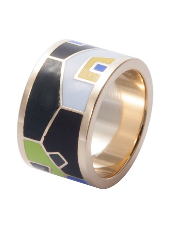 fashion Wide Round Shape Geometric Printing Ring - COLORMIX 16
