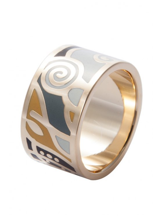 lady Round Shape Geometric Printing Ring - COLORMIX 16