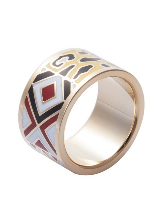 fancy Round Geometric Printing Ring - COLORMIX 16