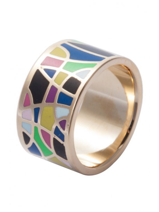latest Round Colored Geometric Print Ring - COLORMIX 16