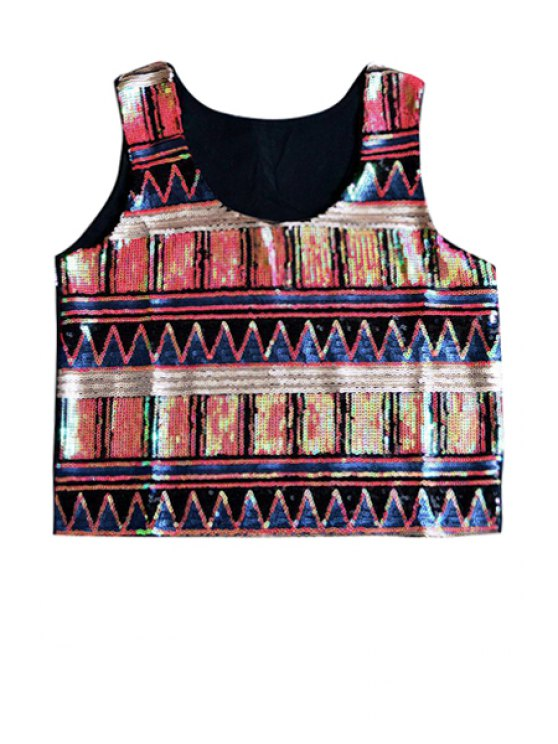 hot Sequins Color Block Tank Top - RED ONE SIZE(FIT SIZE XS TO M)