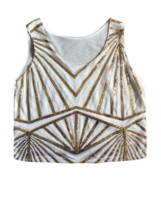 shop Stripe Sequins Sleeveless Tank Top - WHITE ONE SIZE(FIT SIZE XS TO M)