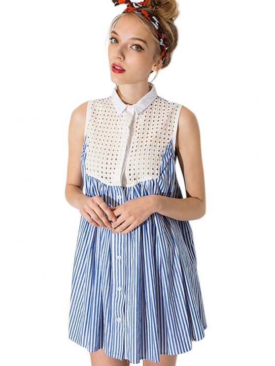 unique Striped Splicing Sleeveless Dress - BLUE AND WHITE S