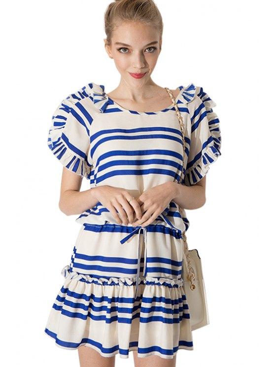 womens Striped Ruffled Short Sleeve Dress - STRIPE S