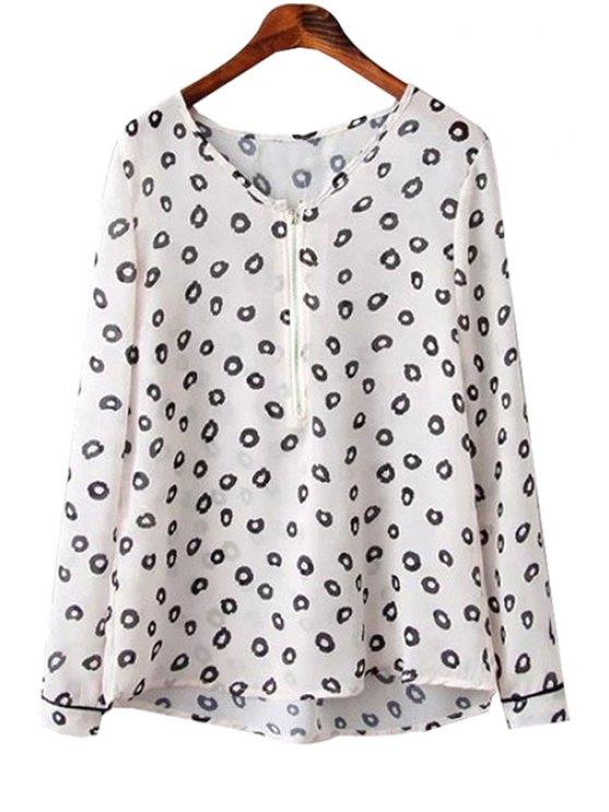women's Black Round Print Long Sleeve Shirt - WHITE S