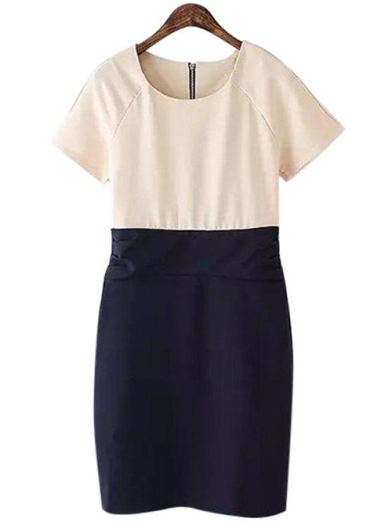 affordable Color Block Splicing Ruffle Dress - COLORMIX S