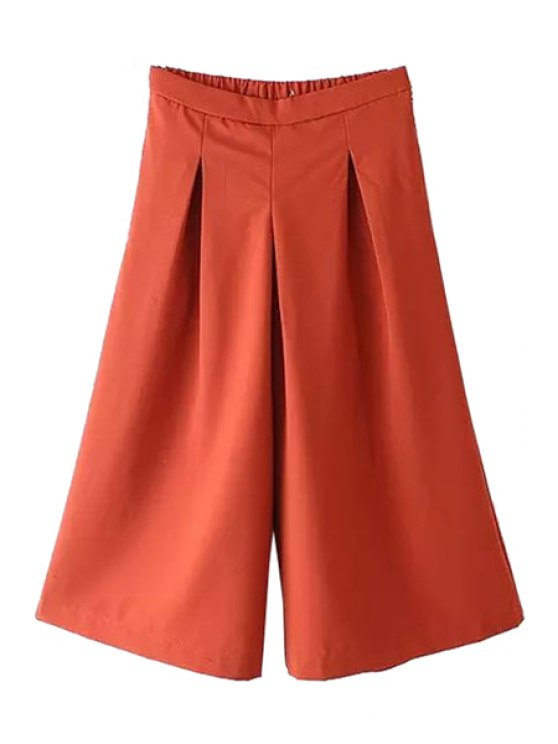 womens Solid Color Ruffle Elastic Cropped Trousers - YELLOW S
