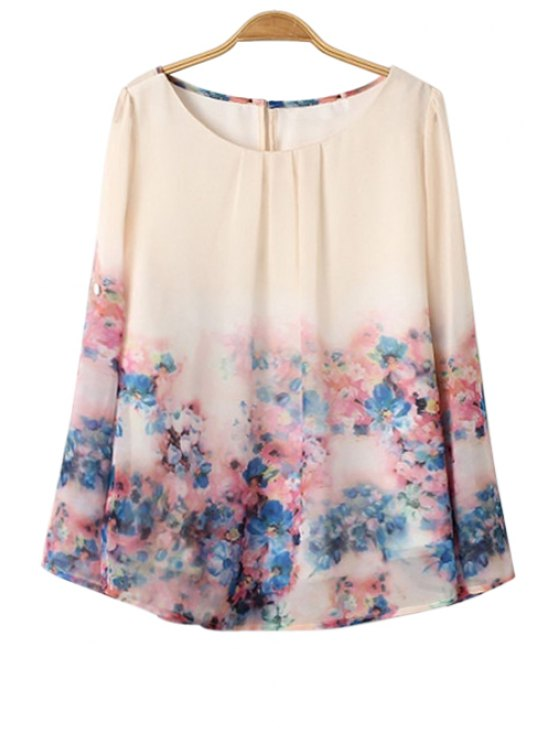 best Scoop Neck Floral Print Ruffle Shirt - COLORMIX S