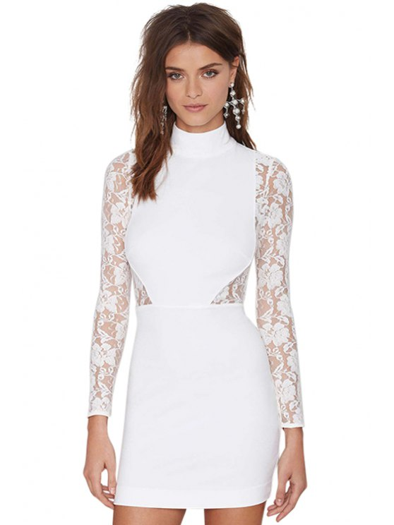 shop Lace Splicing White Bodycon Dress - WHITE S