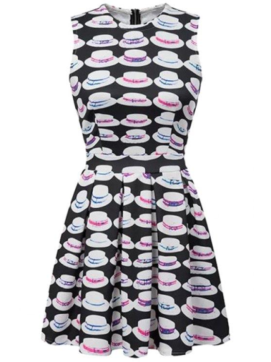 trendy Hat Print Sleeveless Dress - WHITE AND BLACK S
