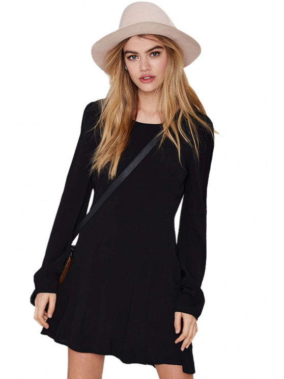 outfit Black Long Sleeves Backless Dress - BLACK L