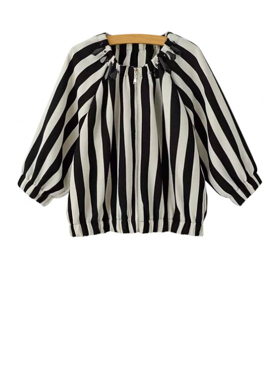 chic Stripe Color Block Bead Long Sleeve Coat - WHITE AND BLACK S