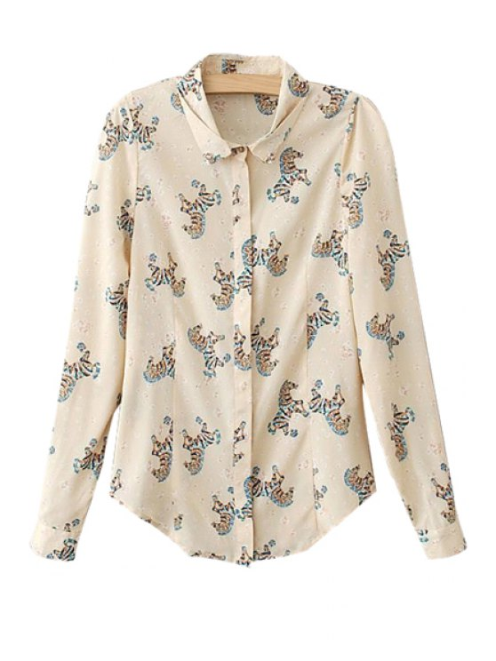 hot Horse Print Rhinestone Long Sleeve Shirt - AS THE PICTURE S