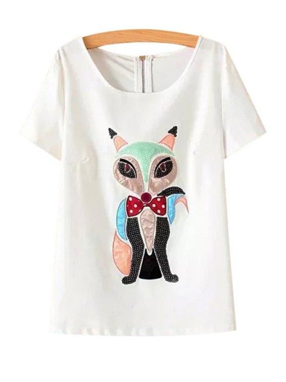 shop Fox Pattern Sequins T-Shirt - WHITE M