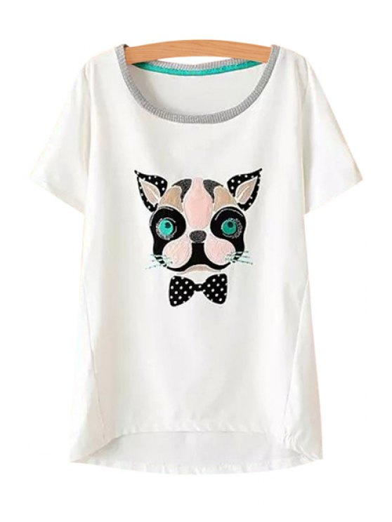 latest Colorful Leopard Pattern T-Shirt - WHITE M