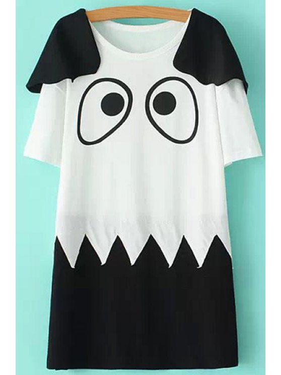 women's Color Block Eyes Print Short Sleeve Dress - WHITE AND BLACK M