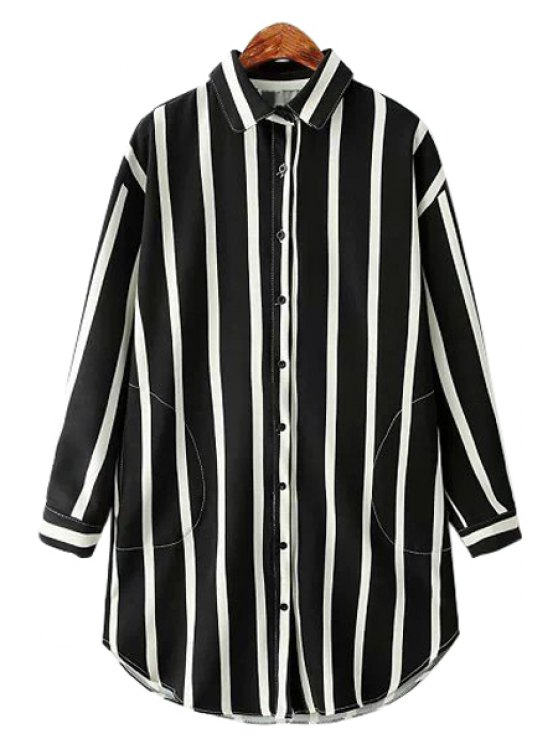shop Stripe Color Block Pocket Long Sleeve Shirt - BLACK ONE SIZE(FIT SIZE XS TO M)