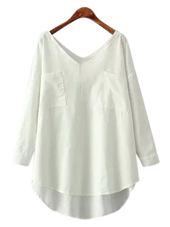 latest Pocket Asymmetrical Long Sleeve Shirt - WHITE ONE SIZE(FIT SIZE XS TO M)