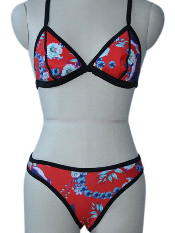 trendy Floral Pattern Spaghetti Straps Bikini Set - RED S