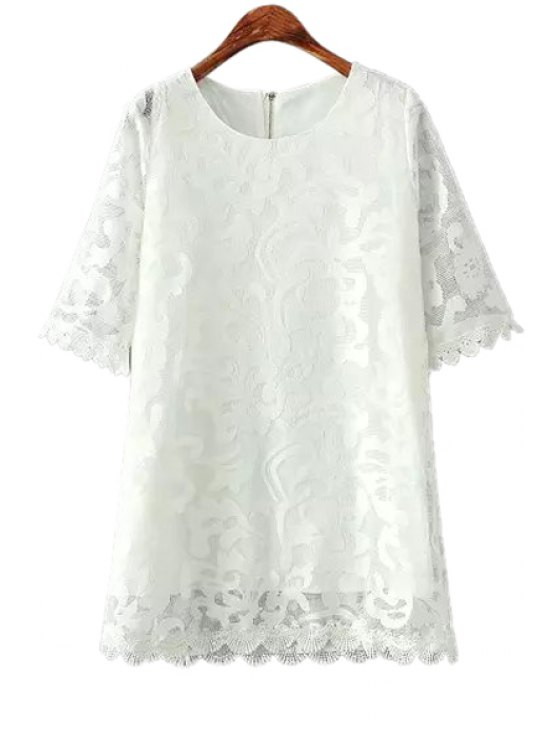 outfits Lace Solid Color Openwork Short Sleeve Dress - WHITE ONE SIZE(FIT SIZE XS TO M)