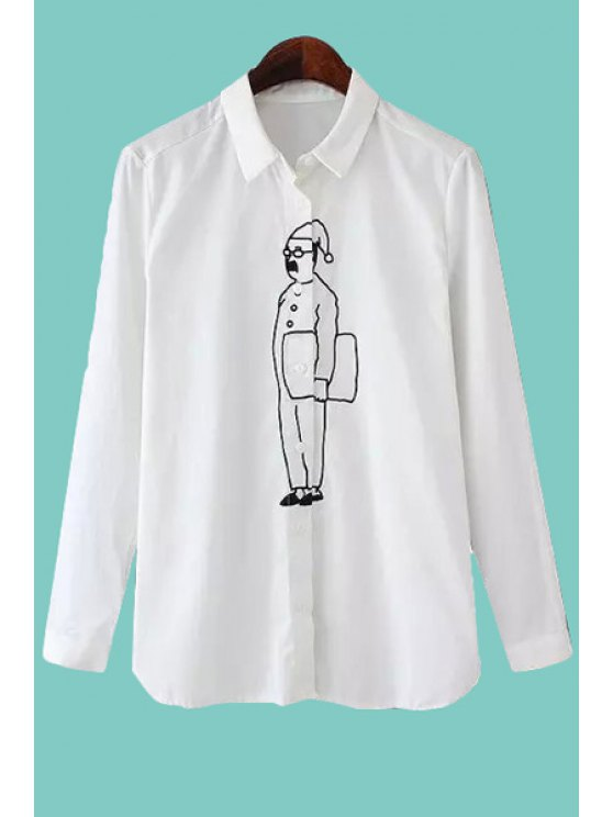 affordable Figure Print Long Sleeve Shirt - WHITE ONE SIZE(FIT SIZE XS TO M)