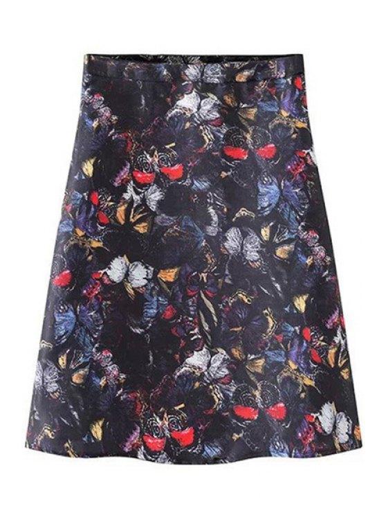 hot Butterfly Print A-Line Zipper Fly Skirt - BLACK S