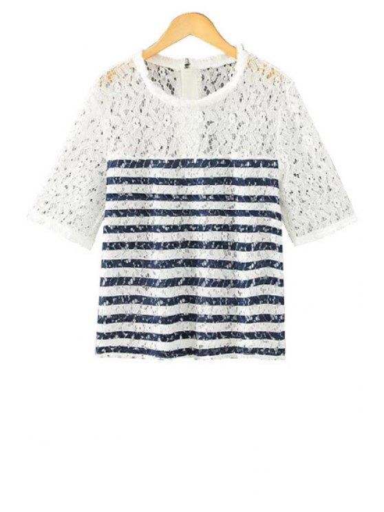 best Stripe Fringe Lace Short Sleeve T-Shirt - WHITE M