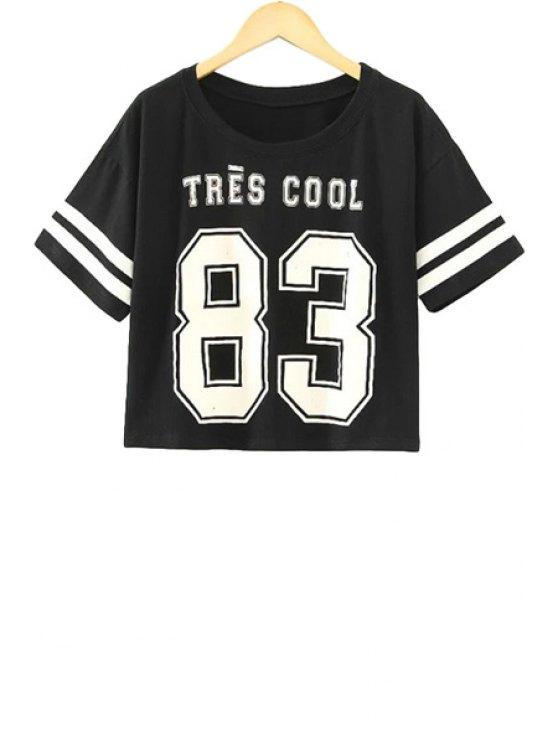 new Letter Print Stripe Short Sleeve T-Shirt - BLACK S