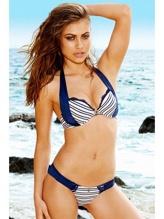 buy Halterneck Striped Bikini Set - STRIPE M