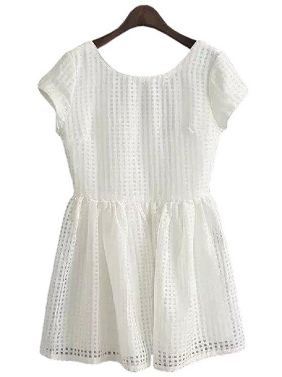 best Solid Color Plaid Short Sleeve Dress - WHITE S
