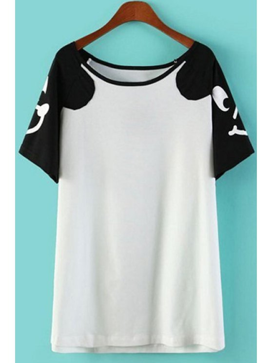 outfits Cartoon Face Color Block T-Shirt - WHITE ONE SIZE(FIT SIZE XS TO M)
