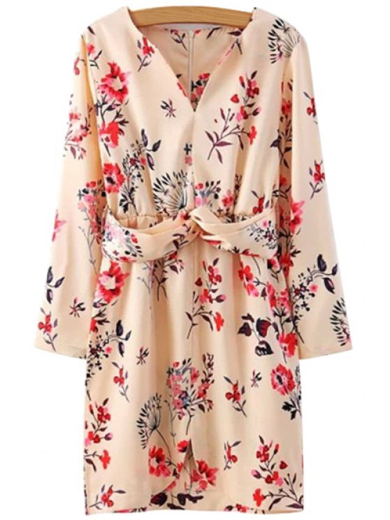 fancy Floral Print Slit Long Sleeve Dress - COLORMIX S