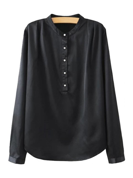 shop Stand-Up Collar Solid Color Shirt - BLACK S