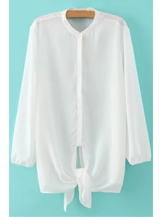 affordable Solid Color Tie-Up Long Sleeve Shirt - WHITE S