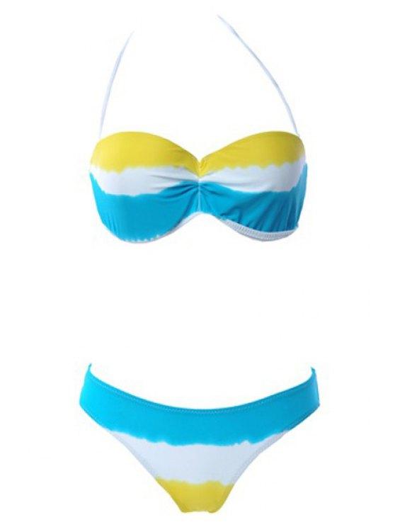 lady Tie Dye Strapless Bikini Set - YELLOW S