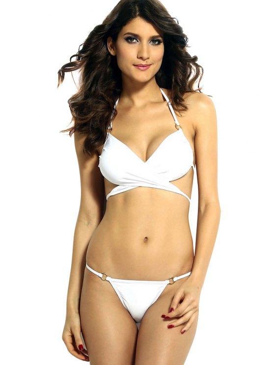 shops Solid Color Cross Halter Neck Bikini Set - WHITE S