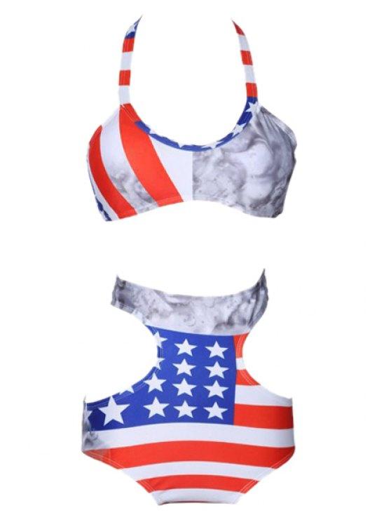unique Color Block Stripe Star Print Openwork Bikini Set - COLORMIX S