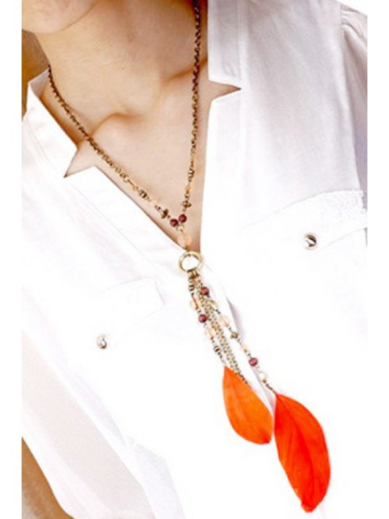 fashion Chic Beads Feather Necklace For Women - AS THE PICTURE