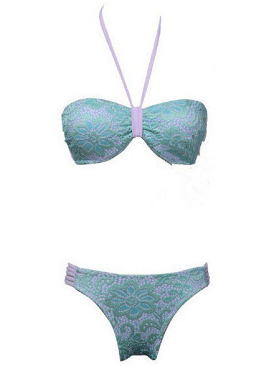 hot Halter Color Block Lace Splicing Bikini Set - PURPLE S