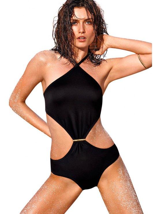 lady Black Lace-Up One-Piece Swimwear - BLACK S