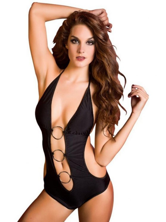 outfit Black Metal Ring One-Piece Swimwear - BLACK S