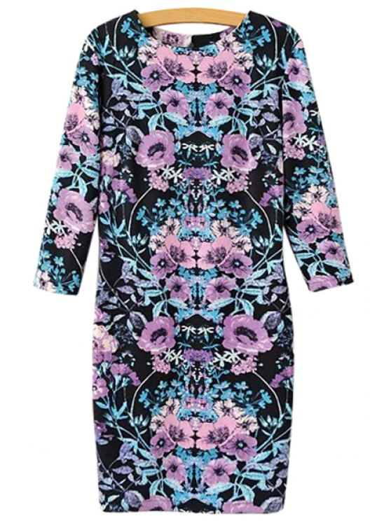 outfit Purple Floral Print Backless 3/4 Sleeve Dress - COLORMIX S
