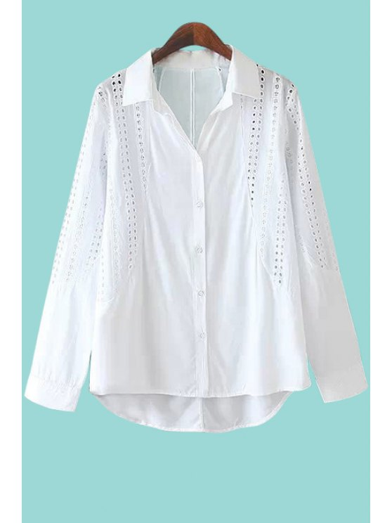outfits Solid Color Asymmetrical Openwork Shirt - WHITE S