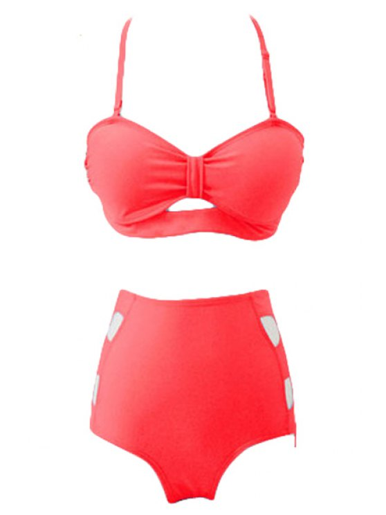 unique Solid Color High Waisted Bikini Set - WATERMELON RED S