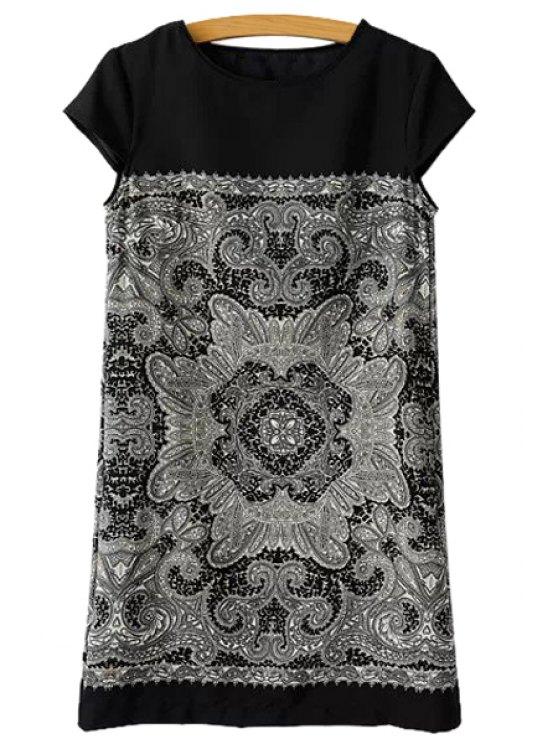 unique Floral Print Straight Short Sleeve Dress - BLACK S