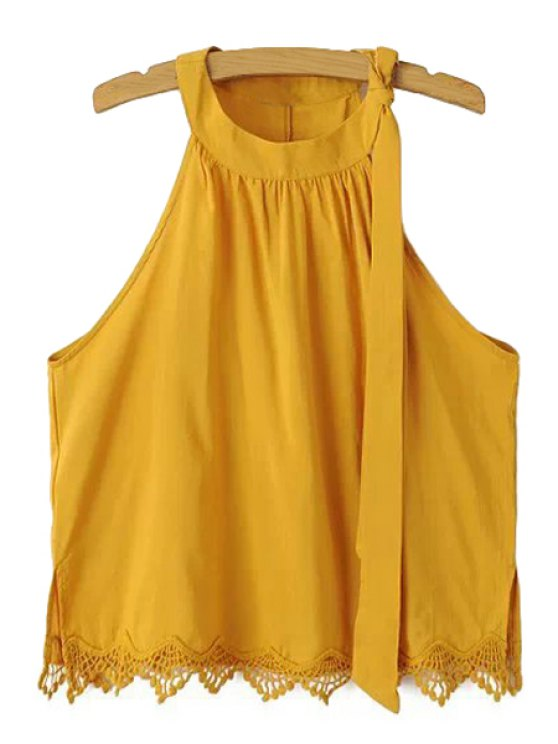 shop Tie-Up Solid Color Lace Splicing Tank Top - YELLOW S