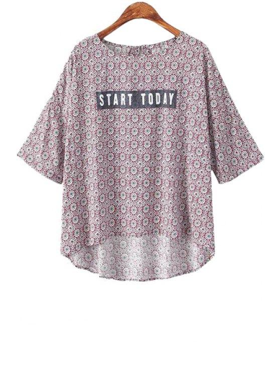 womens Letter Print Asymmetrical Shirt - COLORMIX M