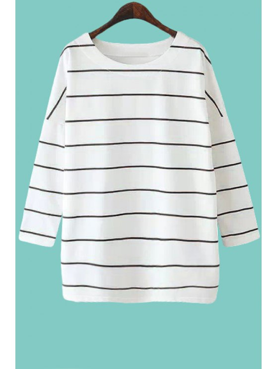 chic Scoop Neck Stripe T-Shirt - BLACK ONE SIZE(FIT SIZE XS TO M)