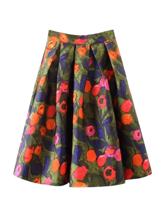 womens Full Flowers Print A-Line Skirt - COLORMIX M